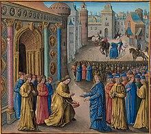 Bir şehir kapısının önünde buluşan iki adamın resmi.  Her iki adam da diğer insanların kalabalığının önünde.  Soldaki çıplak başlı ve bir elinde şapkasını tutarken, mavi işlemeli cüppeler ve taç giyen diğer figüre eğiliyor.