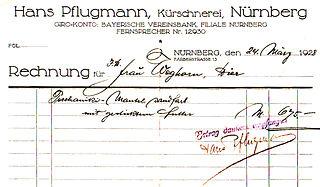 Dateireceipt Of The Furrier Hans Pflugmann Of Nuremberg Germany