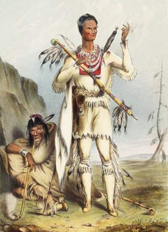 Winnebago War - Red Bird, dressed in white buckskin for his surrender to U.S. authorities, with Wekau