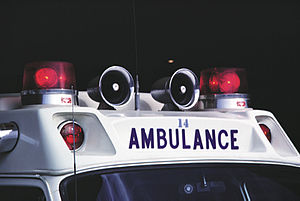 Emergency vehicle lighting - Emergency vehicle lighting, such as that seen on this 1970s ambulance, helps to announce the vehicle's presence to other road users.