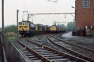 British Rail Class 76 - Class 76s at Reddish locomotive depot in 1981 shortly before withdrawal.