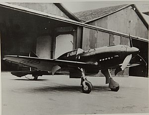 Reggiane Re.2005 - Re.2005 prototype photographed at the factory, spring 1942; note the lack of a radio mast behind the cockpit