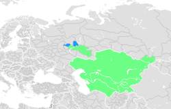 The proposed Reichskommisariat Turkestan in green, with the possible inclusions in blue (Mari El and Udmurtia)