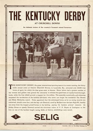 1913 Kentucky Derby - Promotional flyer for the Selig Polyscope Company's documentary, The Kentucky Derby at Churchill Downs (1913)
