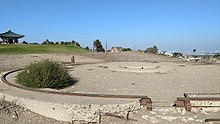Remains of railway gun mount at Fort MacArthur military base in San Pedro, CA.