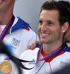 France at the 2012 Summer Olympics - Renaud Lavillenie displayed his gold medal in men's pole vault.