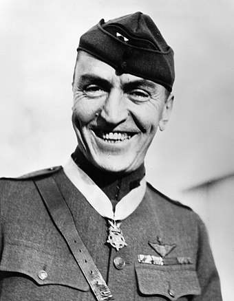 Eddie Rickenbacker was an American fighter ace in World War I and Medal of Honor recipient, with 26 aerial victories. RickenbackerUSAF.jpg