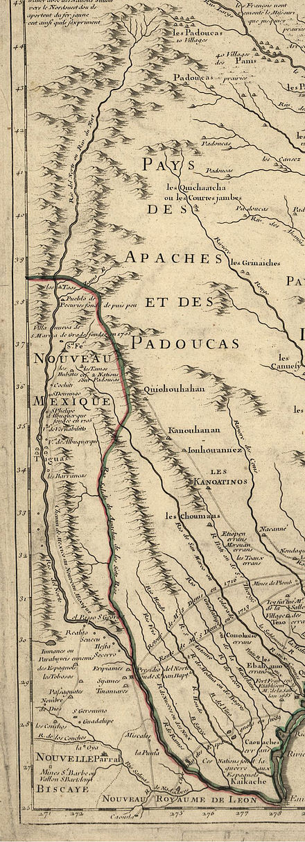 The Rio Grande (Rio del Norte) as mapped in 1718 by Guillaume de L'Isle Rio grande in 1718.jpg