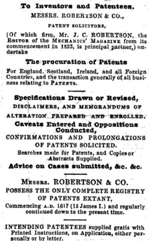 Joseph Clinton Robertson - Image: Robertson Patent Solicitors ad