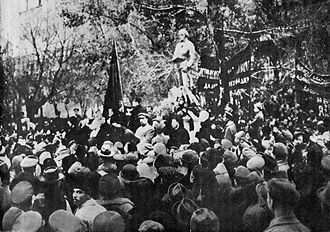 Monumental propaganda - The Robespierre Monument being unveiled on 3 November 1918. It was destroyed only three days later.
