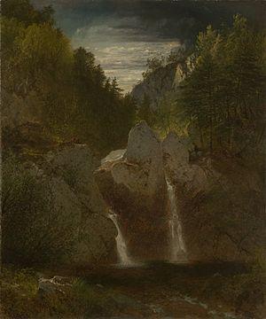 Bash Bish Falls - Rocky Pool Bash-Bish Falls by John Frederick Kensett 1865