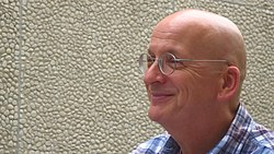Roddy Doyle in the festival garden at Haus der Berliner Festspiele on September 14th, 2015, during his participation in the Children´s and Young Adult Program of the 15th international literature festival berlin.JPG