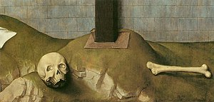 Crucifixion Diptych (van der Weyden) - Detail showing the skull and bone at the base of the cross.