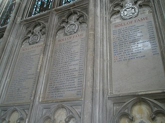 Rifle Brigade (The Prince Consort's Own) - Roll of fame for The Rifle Brigade on the north wall at Winchester Cathedral