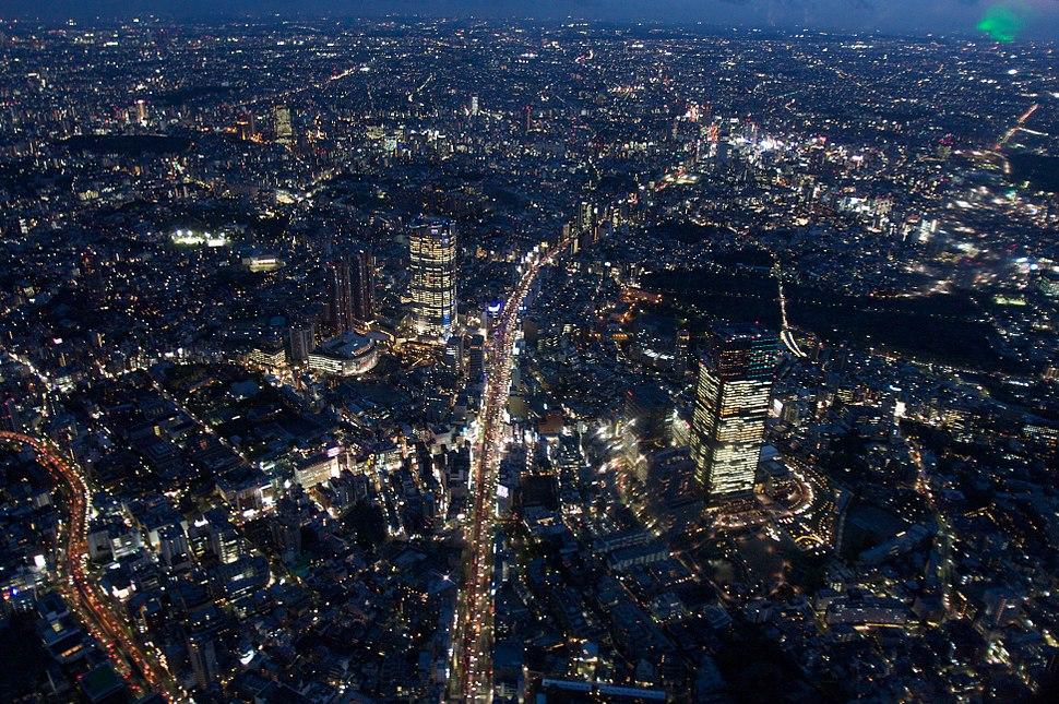 Roppongi aerial at night