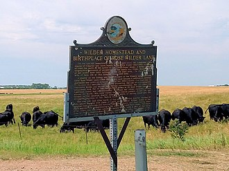 Laura Ingalls Wilder - Rose Wilder Lane birthplace roadside marker - DeSmet, SD