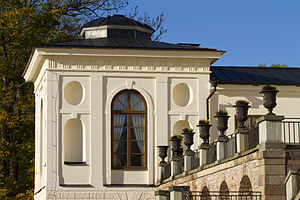 Rosersberg Palace - Part of the west wing of the Palace with flower pots