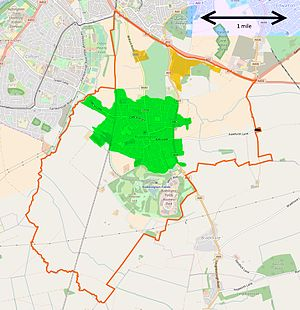 Ruddington - Map of Ruddington parish, showing boundary, the village area (green), Grange (2 orange areas) and Flawford (black rectangle to right shows church location)