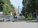 Rusalka memorial through Kadriorg park, Tallinn.JPG