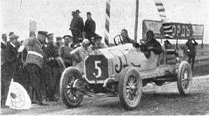 Russian Grand Prix - Russian driver Georgy Suvorin crossing the finish line in 1913