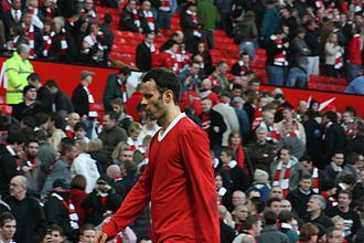 Ryan Giggs - Seen here after the Munich air disaster 50th anniversary match against Manchester City in February 2008, Giggs has made more appearances in the Manchester derby than any other player.