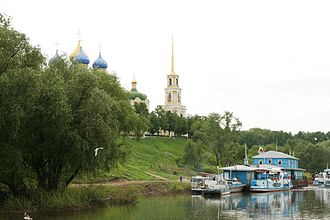Ryazan kremlin - View of the Cathedral from the river Trubezh
