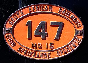 South African locomotive numbering and classification - Number plate on Class NG15 147