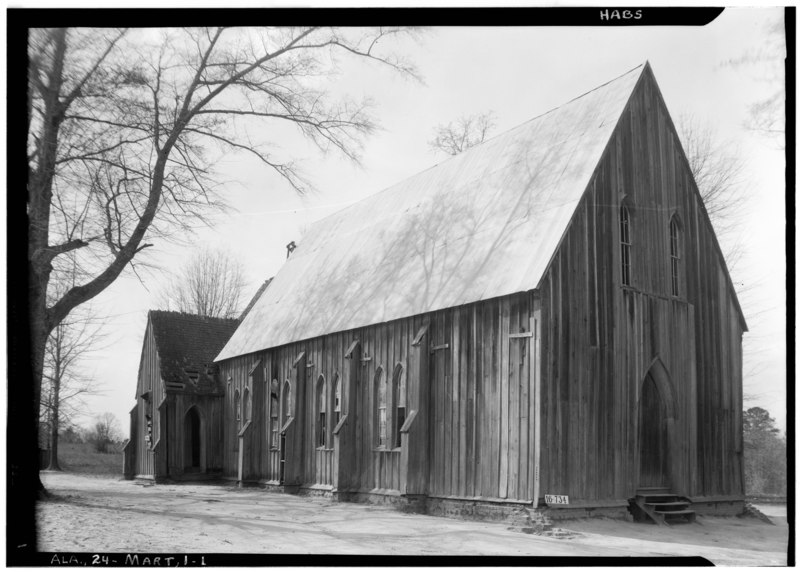 File:SIDE AND FRONT ELEVATION. - SOUTH AND EAST - St. Luke's Episcopal Church, (Moved from Cahaba, AL), Martin, Dallas County HABS ALA,24-MART,1-1.tif