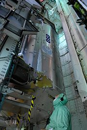 Columbus installed in Atlantis's payload bay in preparation for launch.