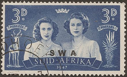 South West Africa stamp: Princesses Elizabeth and Margaret on the 1947 Royal Tour of South Africa SWA sur AfSud filles royales 1947.jpg