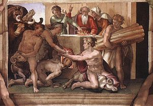 English: Sacrifice of Noah. Fresco in Sistine ...