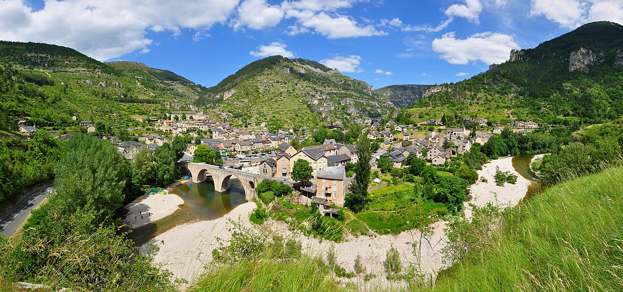 The little village of Sainte-Enimie (Lozère, France) at the entrance of the Gorges du Tarn, seen from a picnic area on D986 road.