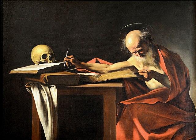 Караваджо. «Святой Иероним», 1605—1606. Из письма Иеронима к Павлину: «Каждое звание имеет своих представителей. <…> …философы могут ставить себе в образец Пифагора, Сократа, Платона, Аристотеля; поэты могут подражать Гомеру, Вергилию, Менандру, Теренцию; историки — Фукидиду, Саллюстию, Геродоту, Ливию; ораторы — Лисию, Гракхам, Демосфену, Цицерону».