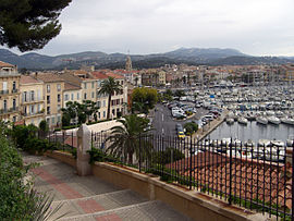 A view of the harbour and waterfront in Sanary-sur-Mer