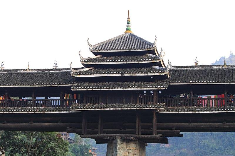 Incendio en el puente cubierto chino Chengyang Wind-Rain Bridge Feng Yu 程陽橋