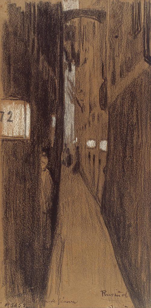 """""""Allée à Gênes"""" Dessin de Santiago Rusiñol (1894)."""