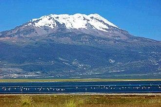 Sara Sara - Sara Sara and Lake Parinacochas in front of it