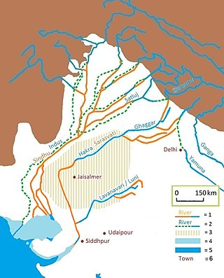 Map of prehistoric river, with modern rivers overlaid