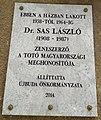 Sas László emléktáblája, Budapest, XI., Kende utca 6..jpg