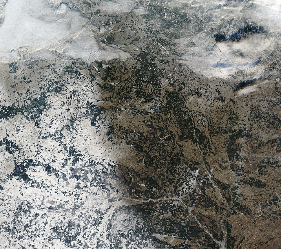Satellite image of Belarus in December 2002