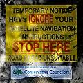 Satnav sign, Micklethwaite Lane, Micklethwaite, Bingley.jpg