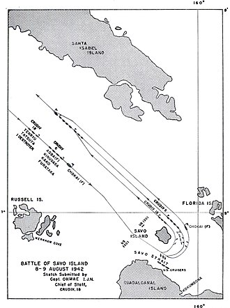 Battle of Savo Island - Chart of the approach and departure of Mikawa's ships from the battle area