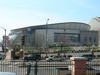 Enterprise Center - Exterior view of venue under former signage (c.2005)