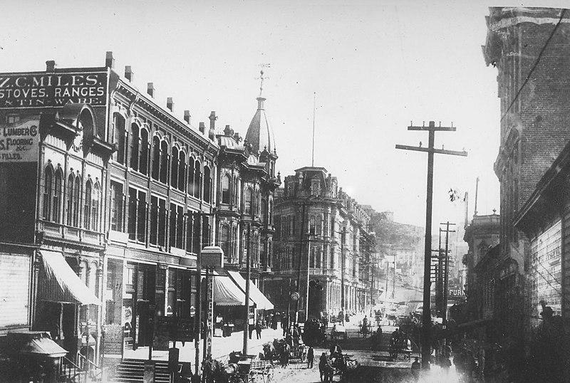Seattle - looking east on Yesler Way, 1887.jpg