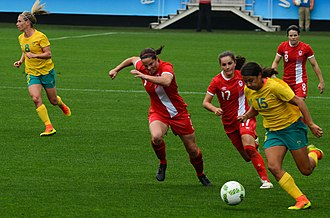 Soccer in Canada - The Canadian women's national soccer team in a soccer game against the Australian women's national football team during the 2016 Summer Olympics.