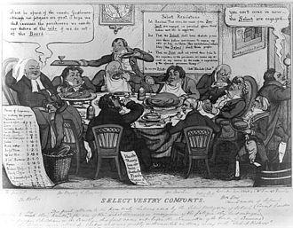 Select Vestries Bill - Satirical cartoon of the select vestry of St. Paul's, Covent Garden. Thomas Jones 1828