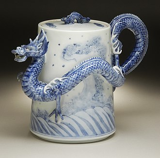"Japanese export porcelain - Elaborate ""sencha ewer or export teapot"", Hirado ware, second half 19th century"