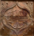 Seven-towers stove tile (Sibiu cityscape and tulips), late 16th century, in Curtea de Argeș Museum.png