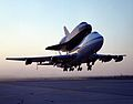 Shuttle Endeavour Mated to 747 SCA Takeoff for Delivery to Kennedy Space Center, Florida.jpg