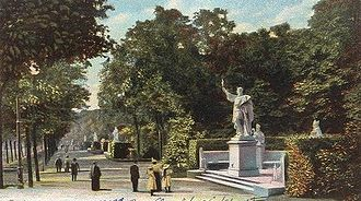 "Siegesallee - The Siegesallee, from a 1902 postcard. In the foreground is the statue of Albert I of Brandenburg (""Albert the Bear"") (1100-1170). This was the northernmost statue on the west side. Other statues can be seen stretching away into the distance."